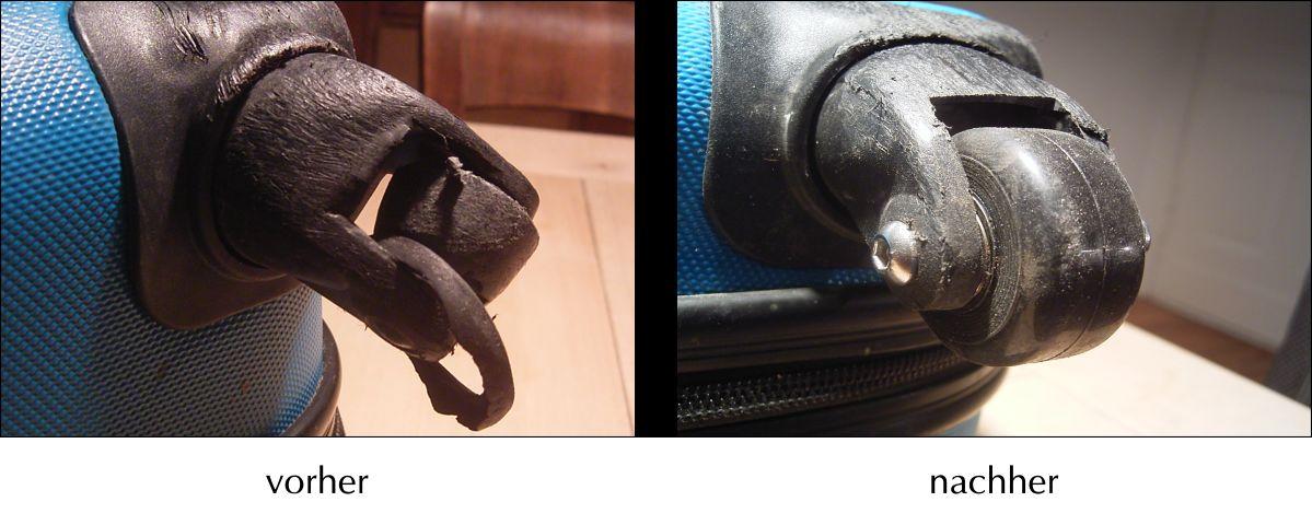Das Bild zeigt eine Koffer Rolle Durchmesser 40mm vor und nach dem Austausch.
