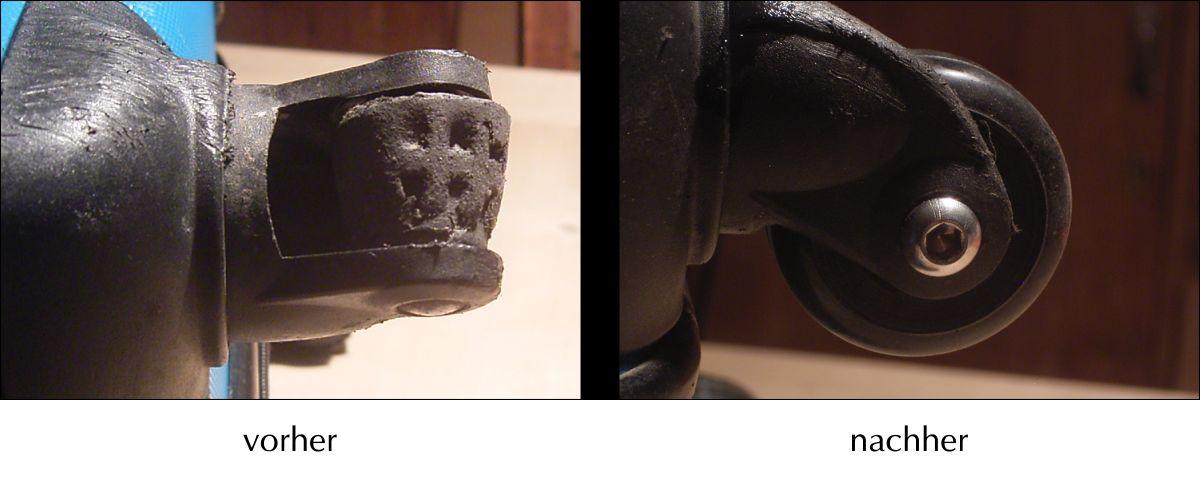 Das Bild zeigt zwei Koffer Rollen an einem vierrädrigen Koffer, Durchmesser 40mm, vor und nach dem Austausch.